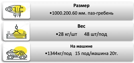 Поребрик 1000.200.60 паз-гребень